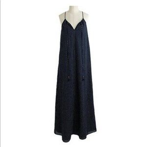J CREW Navy Blue Polka Dot Tassel Maxi Dress XS